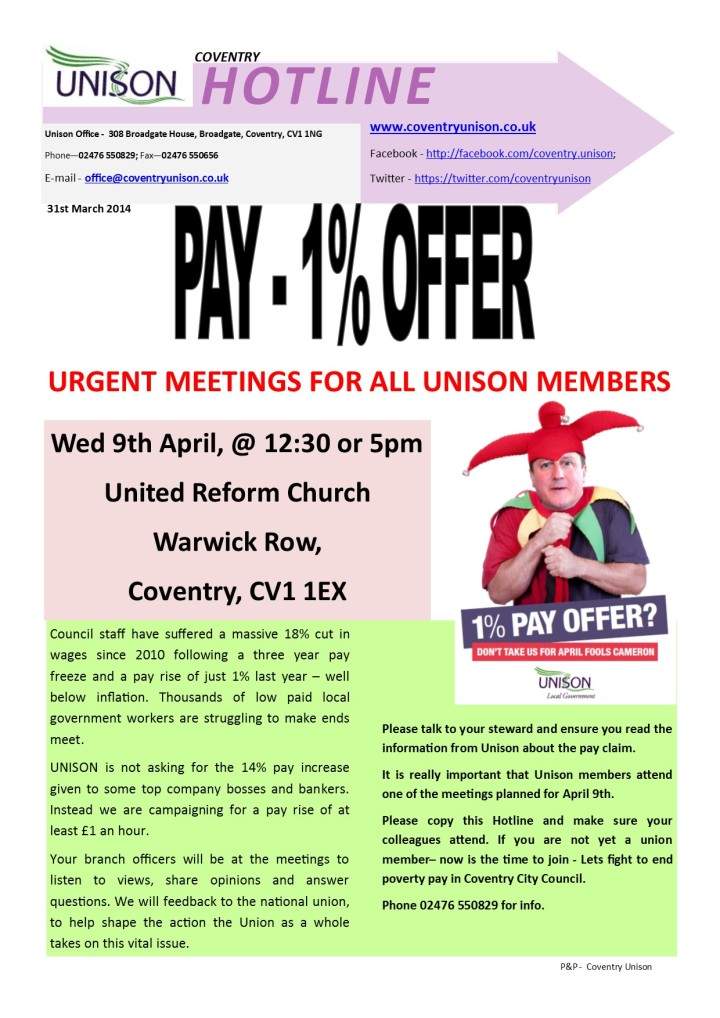 Urgent Meetings For All Coventry Unison Members