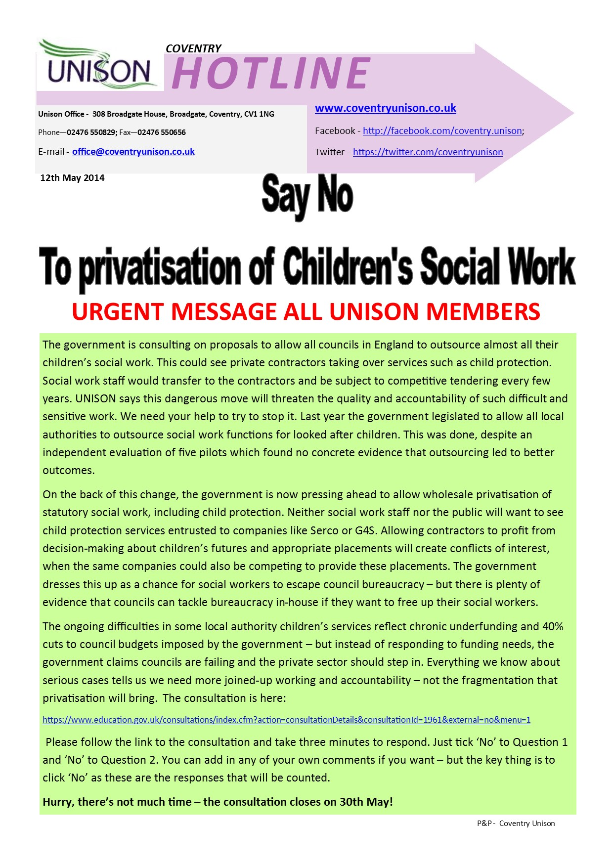 Hotline - No to Privatisation of Children's Social Work
